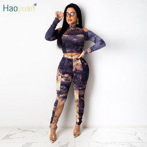 HAOYUAN Sexy Tie Dye Knitted Two Piece Set Off Shoulder Crop Top Fitness Pants Fall Winter Clothing for Women Fashion Outfits