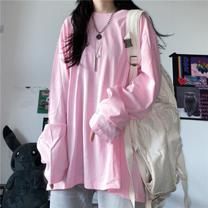 spring New 2021 autumn cotton shirt solid color neck loose sleeve long basic women's t-shirts y429 HZE5