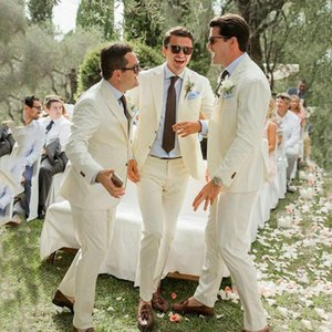 Casual Ivory Linen Men Wedding Suits Costume Homme Groomsmen Tuxedos Groom Outfit 2 Pcs Terno Masculino Blazer Jacket+Pant