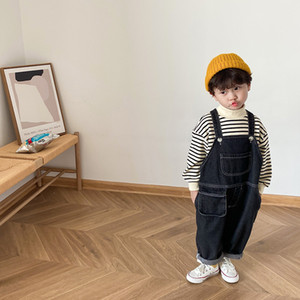 Autumn boys loose casual black denim overalls Children all-match wide leg suspender trousers F1208