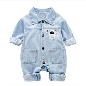 Newborn Baby Girl Clothes Fashion Autumn Baby Boy Jumpsuit Soft Denim New born Baby Romper Climbing Outing Infant Clothes 6M-24M 201027