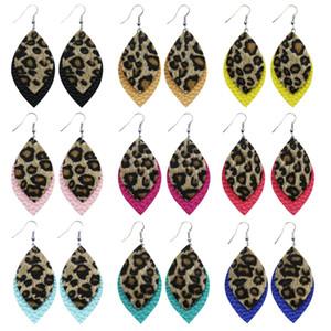 Leopard Stampa PU Leather Goccia orecchini per le donne caramello Leopard Cheetah Stampa Dannal Doccia Drop Tearrop PU orecchino Party Preferimento forniture RRA3908