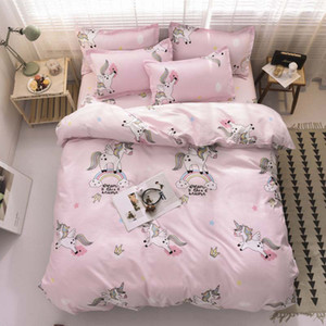 Bed Linen Pink love Style Home Bedding Set Duvet Cover Pillowcase Flat Bed Sheet Single Twin Full Queen King Size Duvet Cover Sets