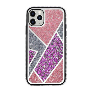 Şık Rhinestone Glitter Toz Bling Electroplated Ayna Sert Telefon Kılıfı iPhone 12 Mini 11 Pro XS MAX XR X 7 8 artı