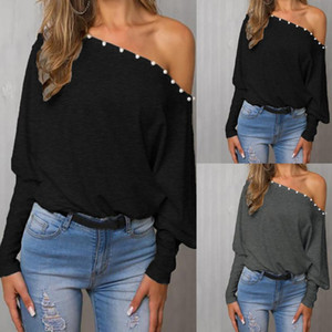 Femmes hors épaule Top Sexy Long Batwing Chemise Chemise Tops Blouses Automne Summer Girls Pull occasionnel