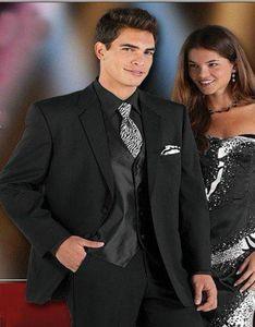 2020 Bridegroom Men Notch Lapel Wedding Suits Best Selling Black Groom Tuxedos Business Groomsman Suit (jacket+pants+vest)