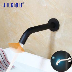 JIENI Black Chrome Lavatory Bathroom Faucet Wall Mount Sensor Faucet Automatic Free Touch Sensor Bathroom Sink Mixer Tap