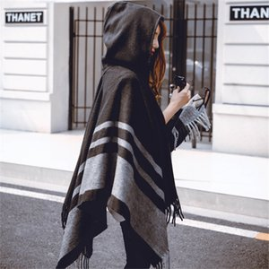Nueva moda Mantores de gran tamaño Cálido invierno con capucha envoltura Cashmere Poncho Plaid Capes Outwear Cardigans Sweater Coat Tassel J1215