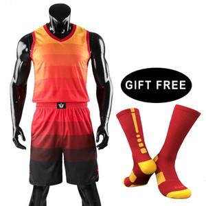 Fardas de homens Socks gratuito para crianças homens Throwback Training Jersey Set Juventude Esporte vestuário College Basketball Jerseys