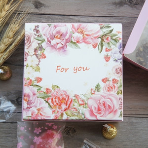 13.5*13.5*5cm 10pcs pink rose for you design Paper Box candy Cookie Storage Boxes valentine Wedding Christmas gift Packaging