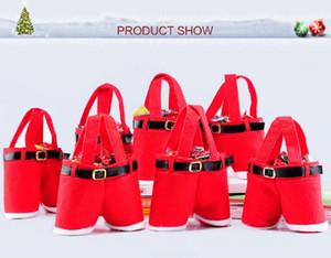 Feliz Navidad Regalo Trate Candy Bottle Bottle Bag Santa Claus Suspender Pantalones Pantalones Decoración Regalo de Navidad Bolsos FWE2908