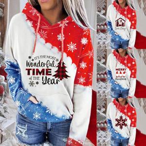 Womail Christmas Ladies Sweatshirt Fashion Long Sleeve Hooded Pullover Tops Autumn Cotton Santa Claus Print Sweatshirt bluza #N