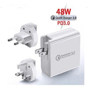 Fast Charger 4 Ports PD Type C Port + QC3.0 Port +2 Ports 2.4A USB 48WPD Wall Charger Compatible with All Smartphones