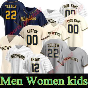 Özel 2021 Brewer Jersey Erkek Kadın Çocuklar Hıristiyan Yelich 50th Josh Hader Woodruff Lorenzo Cain Ryan Braun Brent Suter Orlando Beyzbol