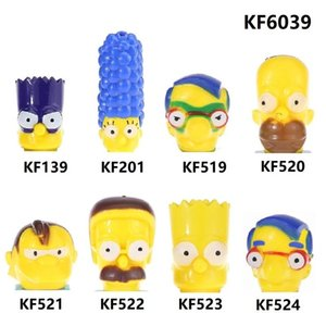 2020 KF6039 Figuras de acción de dibujos animados Bloques de construcción de cabeza Simpson Marge Pronton Milhouse Homer Nelson Ladrillos Juguetes de cumpleaños para niños