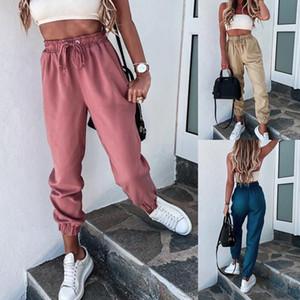 2021 Mulheres Tracksuit calças de treinamento calças esportivas exercício fitness alta cintura cordão rodando calças de treino movimentando-se