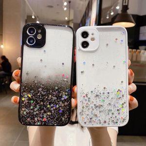 Bling Glitter Confetti Sequin Hard PC + TPU Funda para iPhone 12 Mini 11 Pro Max XR XS MAX X 8 7 6 FOIL CONTRASTE COLOR TRANSPARENTE STAR