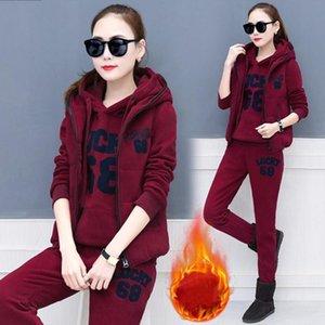3 Piece Set Tracksuit Women Autumn Winter Clothes Hoodies Sweatshirt Vest Pants Thicken Sweat Suits Women's Sets Leisure Outfits