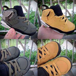 Kids Sneakers Travis Scotts 6 Gold VI Basketball Shoes Medium Olive Boys Girls shoes Dark Mocha Sports Babys Infant 6 Childrens sneaker