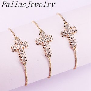 10Pcs Gold Color Micro Pave CZ Zirconia Cross Charm Connector Bracelets For Women Jewelry Y1130