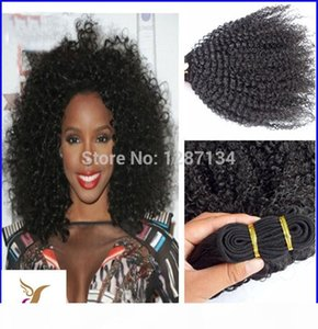 """Hot!!! 6a Grade Virgin Mongolian Hair Weave Human 100g pc Natural Black Afro Kinky Curly Hair Weave 10-30"""" Hair Extension"""