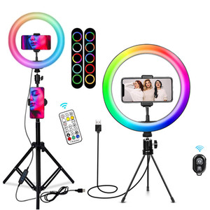Dimmable LED Selfie Ring Light Phone Camera with Adjustable Tripod Stand Desk Makeup Ringlight Phone Holder Aro De Luz Ring Lamp Q0109