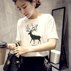 Spring Summer Tops for Women Fashion Deer Print Short Sleeve Round Neck T shirts Women Casual Slim Fit Tshirt Femme