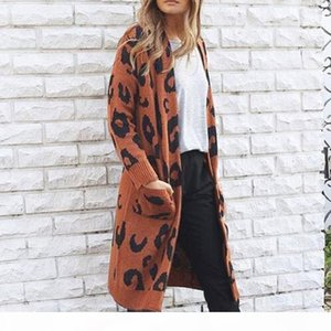 ISHOWTIENDA Cardigan Female Sweater 2018 Long Plus Size Cardigan Sweaters Casual Leopard print Coat Women Sueter Mujer