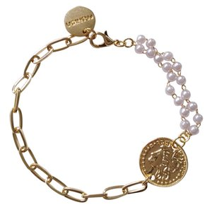 Sweet style Simple niche design InStyle Bracelet creative asymmetry cool fashion portrait bracelet pearl bracelet 1205