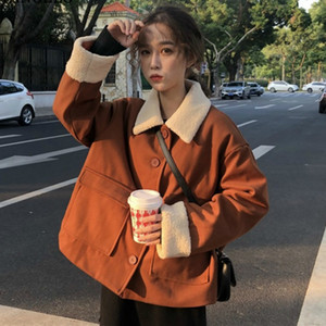 French Renaissance Gentle Fairy Lambswool Jacket Autumn Winter Warm Thick Cotton Tweed Tops Lolita Loose Brown Short Coat Female Q0119