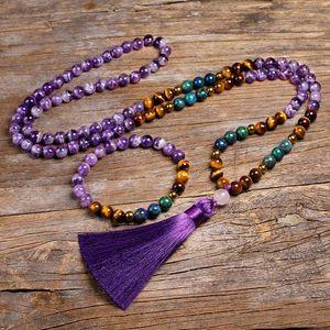 Naturel Amethyst pierre Parures Tigers Eye, 108 collier de perles Chrysocolla Azurite avec 6MM Hématite Bracelet Femmes Hommes