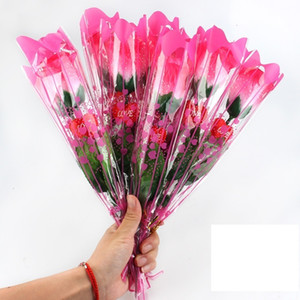 UATNOU Factory price Simulation Roses Plastic LED Luminous Artificial Flower Rose Valentines Day Gifts Wedding Party Decoration 3 N