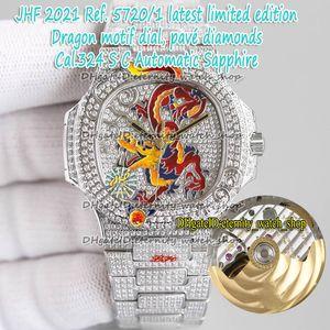 제한 버전 아이스 풀 다이아몬드 5720/1 Pavé 다이아몬드 에나멜 드래곤 디자인 다이얼 Cal.324 S 자동 망 시계 5719 영원 - 시계