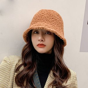 New Cashmere Bucket Cap Women's Literature and Art Age Reduction Casual Fisherman's Hat Fashion Japanese Pure Color Simple Basin Hat