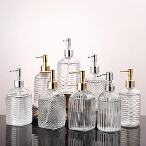 400 ml Temizle Pompa Kafa Şişe Cam El Dezenfektanı Şişe Kozmetik Losyonu Alt Şişe Push-on Duş Jeli Şampuan Depolama Şişeleri XD24253