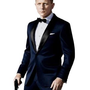 Изготовленный на заказ темно-синий костюм, вдохновленный изношенным в Джеймс Бонд Свадебный костюм для мужчин Groomsman Tuxedos Groom Свадебные костюмы Y201026