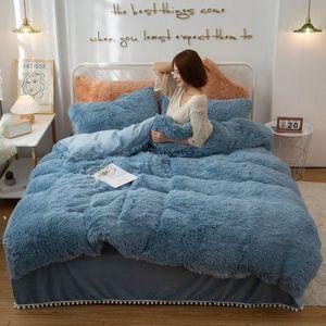 Plush Winter Bedding Set Mink Velvet Duvet Cover Pompoms Ruffled Bed Skirt Pillowcases Set Shaggy Velvet Queen King Size