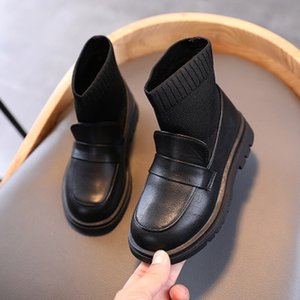 Children 2020 Winter Martin Boots Boys Girls British Style Short Boots Children Slip-On Boot Kids Trendy Solid Color Shoes Hot Sale