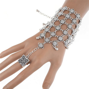 1 Pc Boho Slave Chain Hand Finger Multilayer Bracelets For Women Fashion Jewelry Retro Silver Plated Gypsy Tassel Bracelet