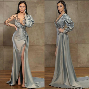 Illusion Mermaid Evening Dresses Sexy V-neck Long Sleeve High-split Sheer Prom Dress Appliqued Beaded Satin Sweep Train Party Gown Cheap