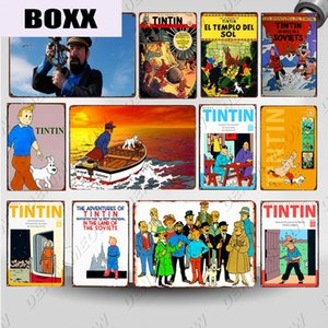 The Adventures of Tintin Cartoon Tin Sign Plaque Metal Vintage Poster Wall Art Painting Stickers Children Gift Home Decor WY113