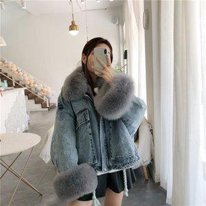 Winter Thick Warm Coat Women Real Fur Denim Jacket New Korean Fox Fur Collar Rex Rabbit Liner Bat Sleeve Loose Female Parka 201126