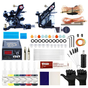 Professional Tattoo Set 2pcs Tattoo Machine For Lining And Shading Machine LED Power Supply Accessories For Art Design