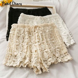Pearl Diary Women Knitted Crochet Lace Short High Rise Drawstring Waistband Hot Short Korean Style Floral Lace Sweet Shorts