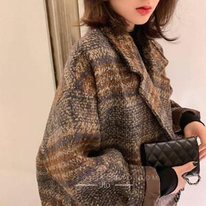 Yocalor inverno sobretudo coreano mulheres 2021 casacos soltos de lã vintage feminino Dupla colarinho colarinho colarinho