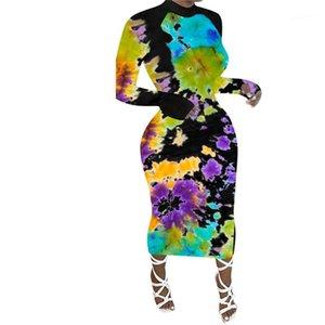 Moda Rahat Kadın Giyim Kravat Boya Baskı Bayan Elbiseler Bahar Sonbahar Uzun Kollu Ekip Boyun Midi Elbise