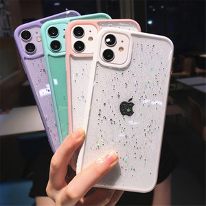 Start Glitter Case For iPhone 12 11 Pro Max 7 8 XR X XS Clear Bling Phone Case Back Cover Girly style