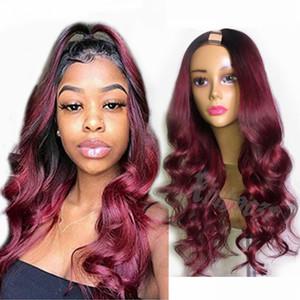 Бразильская 1B / 99J Ombre Burgundy человеческих волос U часть парики для черных женщин 180Density волос Remy парики Средний швеллера часть париков