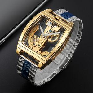 Classic Fashion Automatic Mechanical Wristwatch Men Transparent Watch Skeleton Stainless Steel Bracelet Mesh Strap Men's Watches