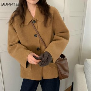 Blends Women Student Temperament Loose All-match Lovely Solid BF Style Long Sleeve Turn-down Collar Winter Fashion Female Wool